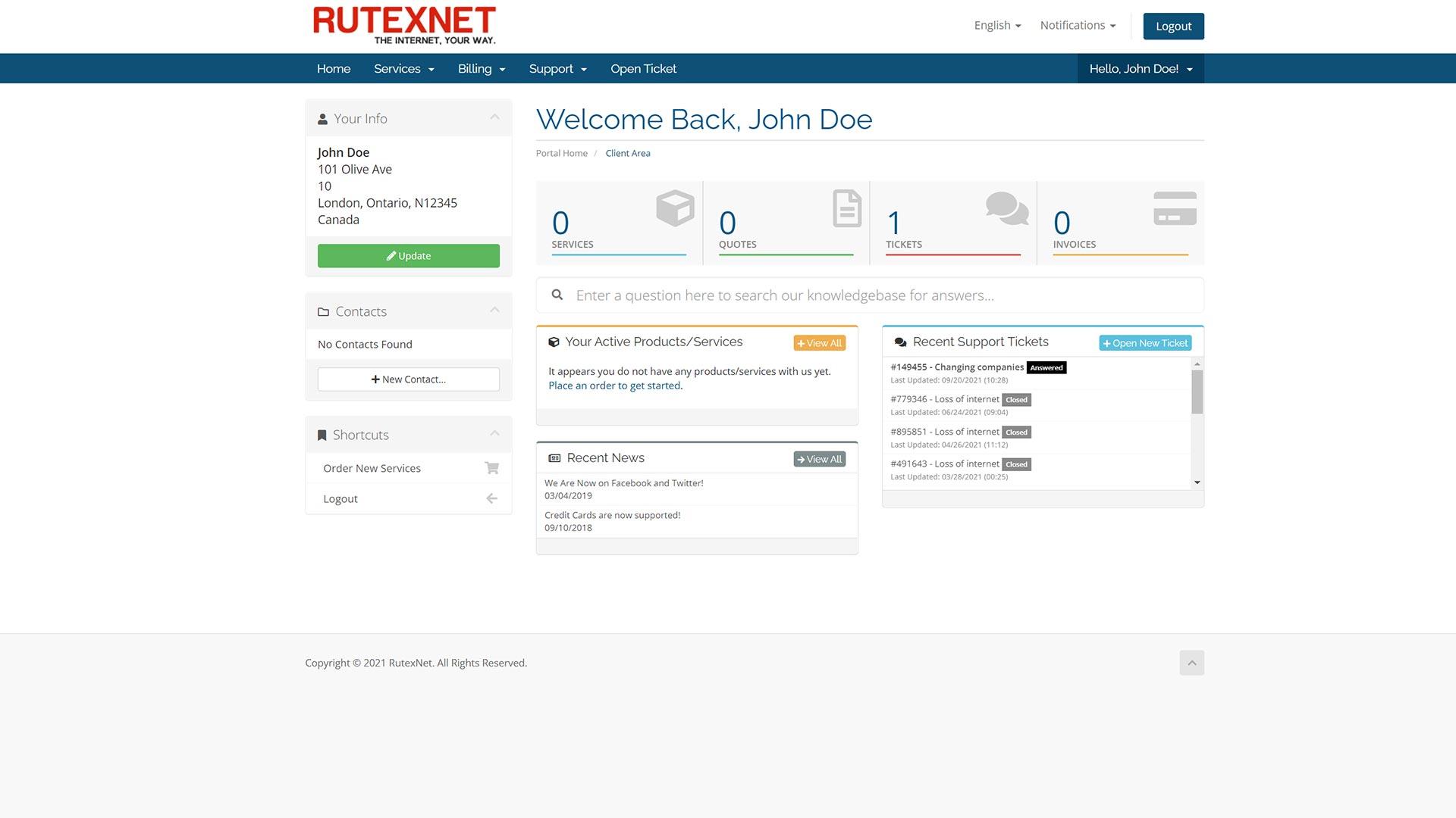 RutexNet-Clien-Area-Dashboard