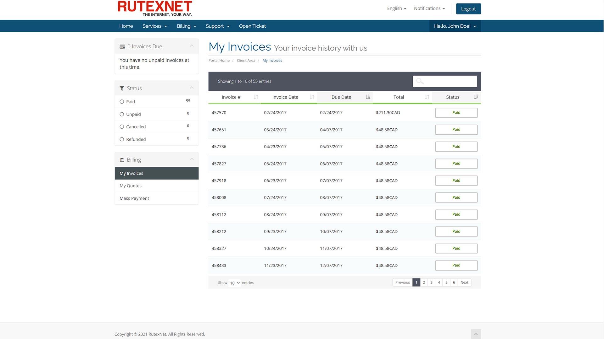 RutexNet-Clien-area-billing