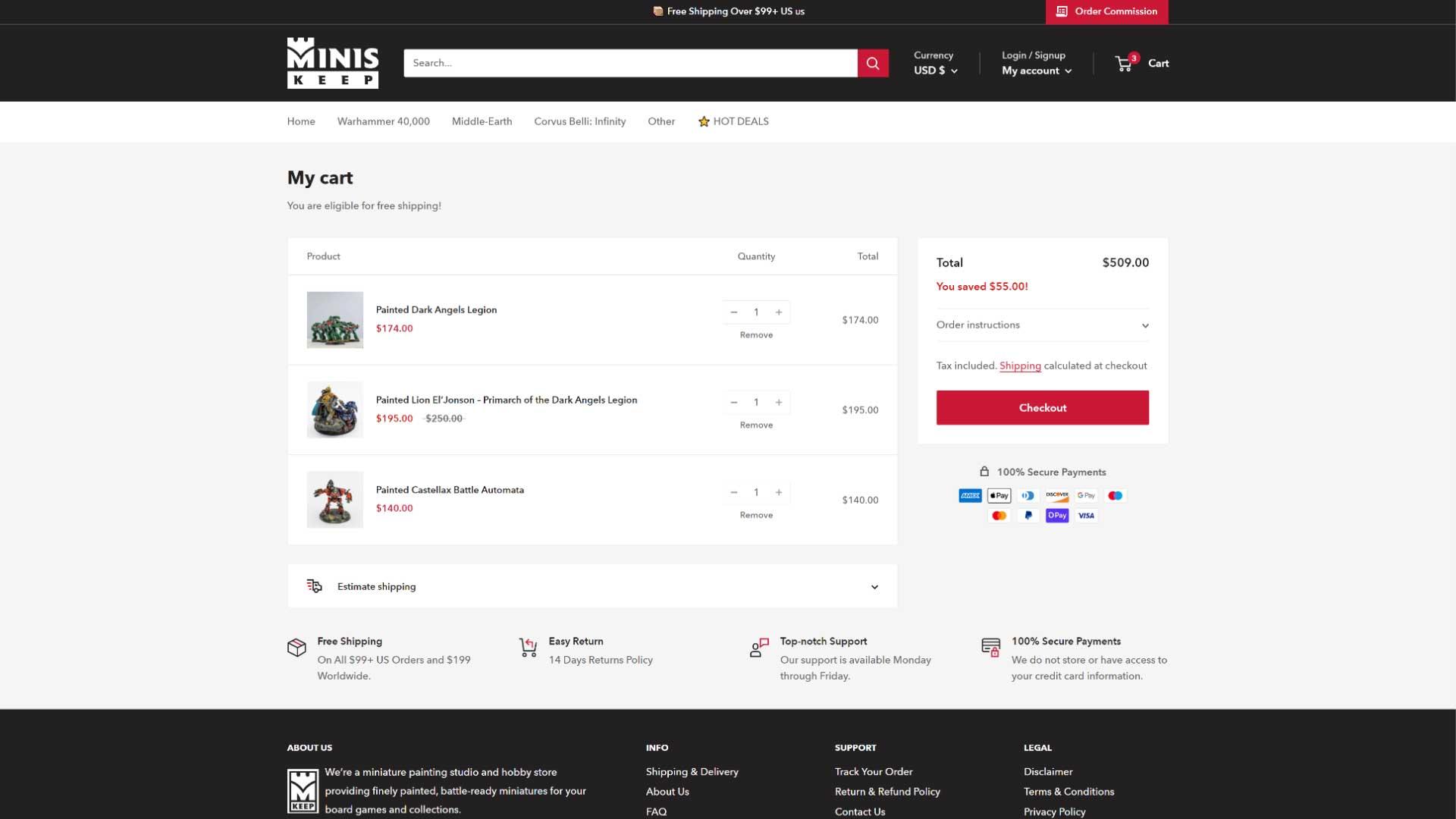 MinisKeep-Cart-Page